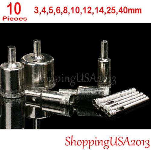 10 Pcs Diamond Coated Drill Bits Set Hole Saw Cutter Tool Glass Marble 3-40mm