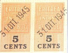 DBAP177 1945 ERITREA BOIC REVENUE VARIETY 5c Double Overprint Pair