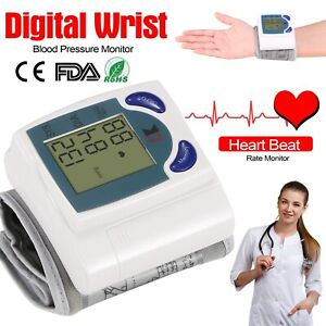 Automatic Wrist Blood Pressure Monitor Heart Rate Cuff Meter Tester with Memory