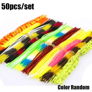 10 Bundles 50 Strands Silicone Skirts Fishing Skirt Jig Random Rubber Lure D7P2