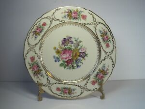 Vintage-Continental-Ivory-Queen-039-s-Bouquet-Germany-Floral-Dinner-Plate