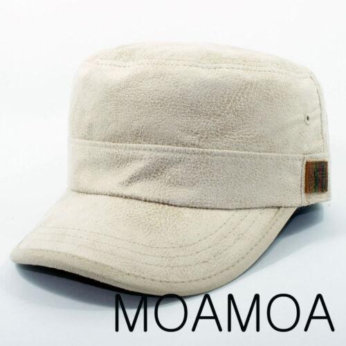 Moa0952 Beige Polyester Hat Men Leather Cap Military Cadet Unisex Fashion Style