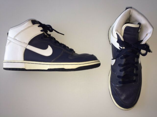 on sale 28f30 7aadc Nike Dunk High 2006 309432-411 VP Navy Blue White Leather Size 11 Euro 45 UK  10 for sale online   eBay