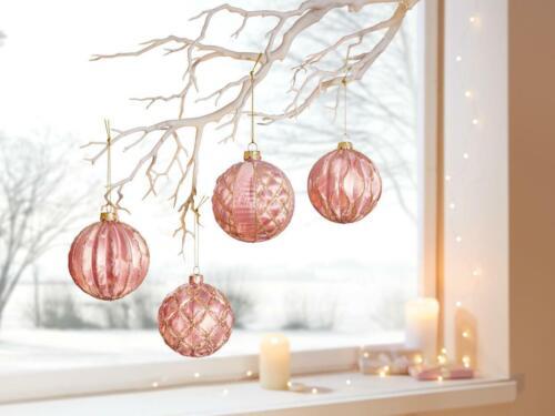 Christbaumkugel Rose Weihnachtskugel Kugel Weihnachtsdeko Rosa 4er Set Glas