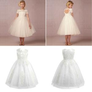 Flower Girl Princess Dress Party Kids Wedding Junior Bridesmaid Shiny Lace Dress