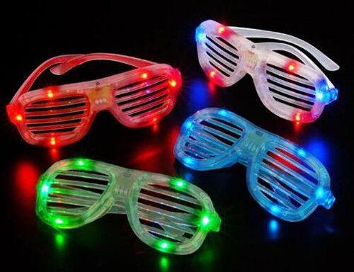 4 Shutter Style LED Flashing Light Up Glasses Slotted Fancy Dress Sunglasses