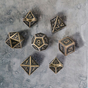 7pcs Dungeons Dragons Mtg Polyhedral Metal Dice Bronze Brass Dnd Rpg Game Dice Ebay