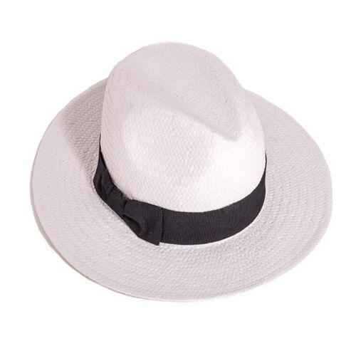 4 Sizes Unisex Crushable White Straw Fedora Panama Hat with Black Band