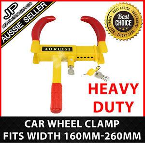 Heavy-Duty-Steel-Car-Wheel-Clamp-Safety-Lock-Trailer-Caravan-Tyre-Fits-160-260MM