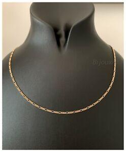 Chaine-Fine-Maille-Figaro-45-cm-x-2-20mm-Plaque-or-18-Carats-750-1000-Bijoux