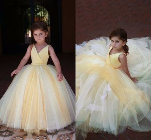 Formal Yellow Flower Girl Dresses For Wedding V Neck Kids Princess Party Gowns