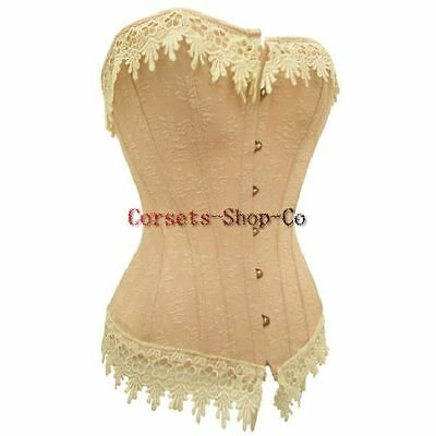 Plus Size Victorian Cream Lace Trim overbust Corset Lace up Boned Bustier Top