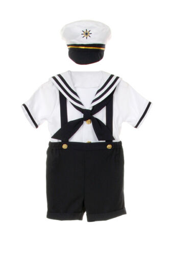 0M-4T New Baby Boy /& Toddler 4pc Marin Bleu Marine Officiel Costume Taille S M L XL 2 T 3 T 4 T