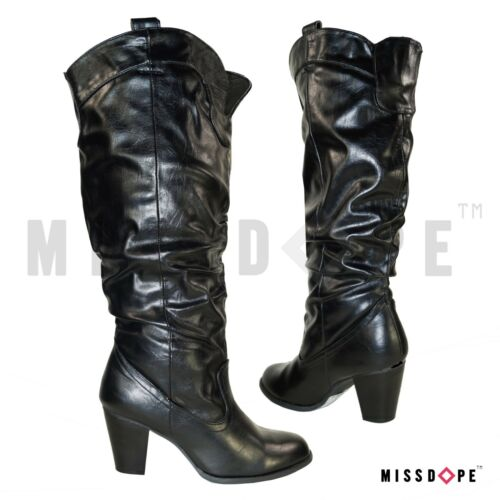 NEW RUCHED BUCKLE BLACK KNEE THIGH HIGH BOOTS FAUX LEATHER WOMENS COWBOY RIDING