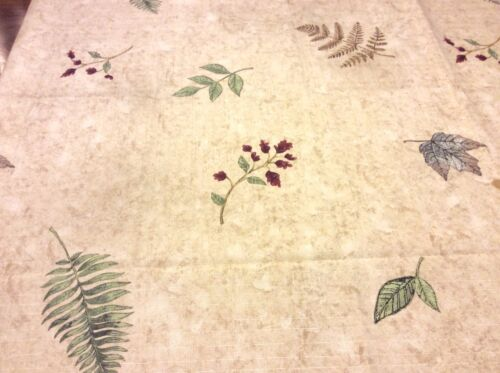 Leaves Shower Curtain Fabric Assorted Leaves /& Small Wine Flowers Creamy Beige