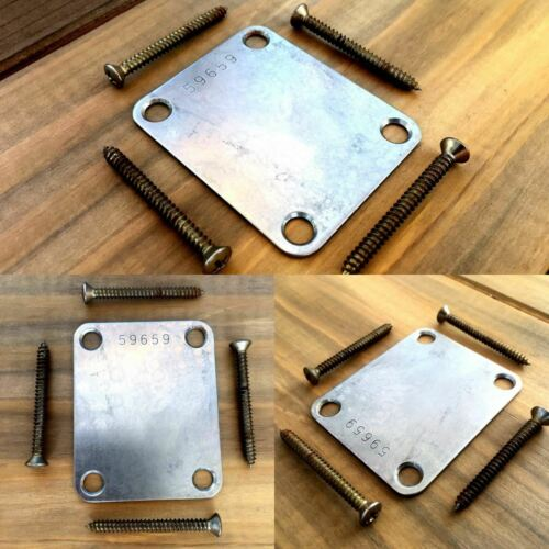 Real Life Relics Nickel Neck Plate with Serial Number Fits Stratocaster®//Teleca