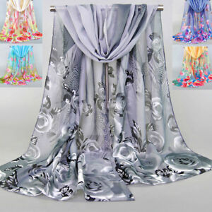 Women-Ladies-Chiffon-Scarves-Rose-Flower-Feather-Printed-Soft-Silk-Shawl-Scarf