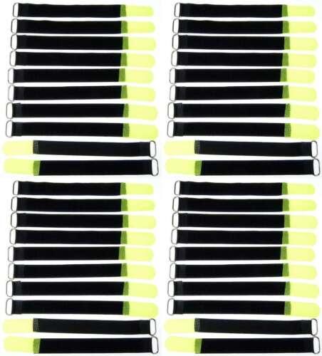 40x Bande velcro serre-câbles 20 cm x 20 mm Fluo jaune Velcro Bandes kabelklettband œillet