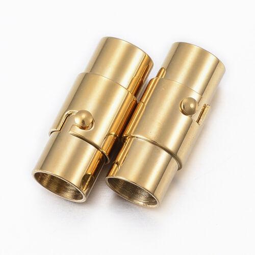 2 X or en Acier Inoxydable Tubulaire Verrouillage Fermoir Magnétique Corde kumihimo Fermoir 6 mm