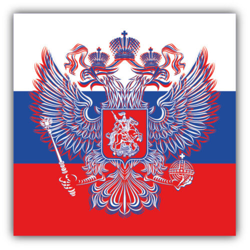 Russia Tricolor Map Flag Coat Of Arms Car Bumper Sticker 3/'/' or 5/'/'