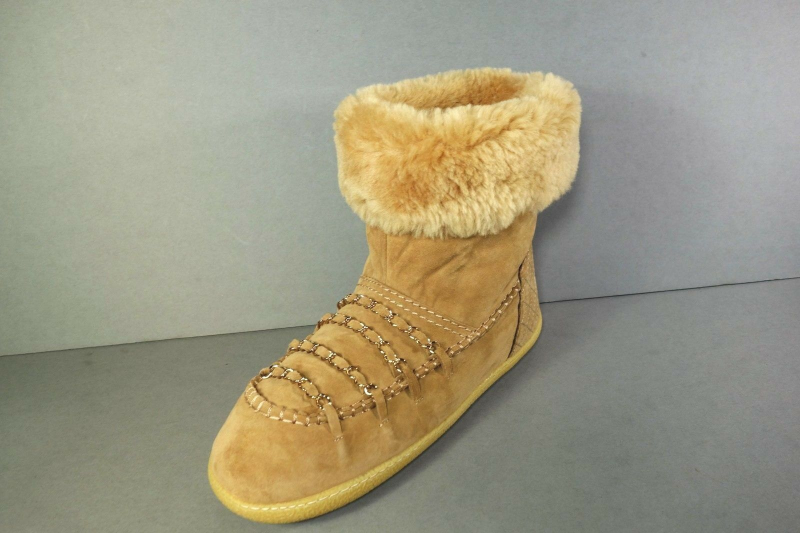 f88b1ae82507b CHANEL 39 Dark Beige Shearling Gold Woven Chains Short BOOTS Ankle ...
