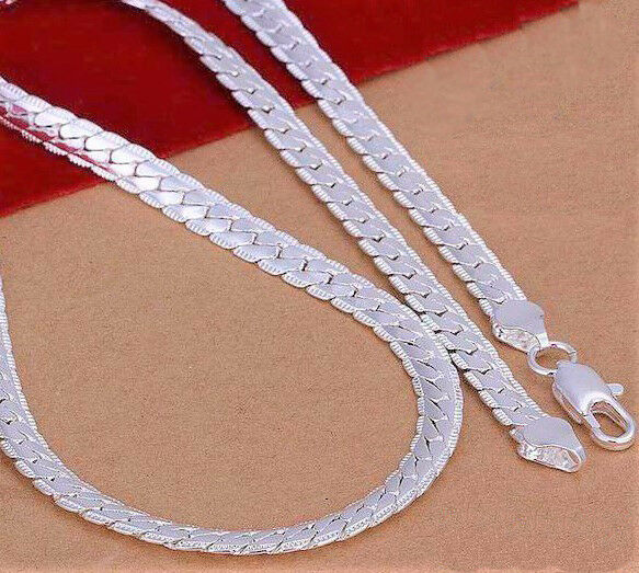 f038bd8e33df8 925 Sterling Silver Necklace Womens Mens Cuban Curb Link Snake Chain D543g