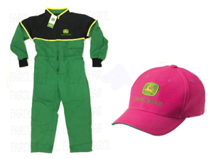 John-Deere-Kids-Overalls-And-Pink-Cap-Children-039-s-Overall-Gift-Package