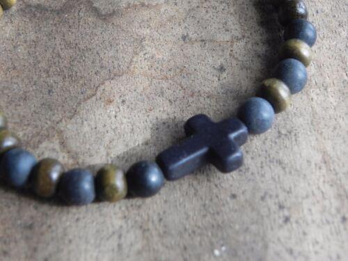 Mens 6mm Black stone Wood and Howlite Cross Bracelet