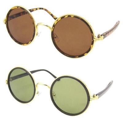 Sonnenbrille Retro Stil Runde Linse Metallrand Schildpatt Braun 90er Steampunk