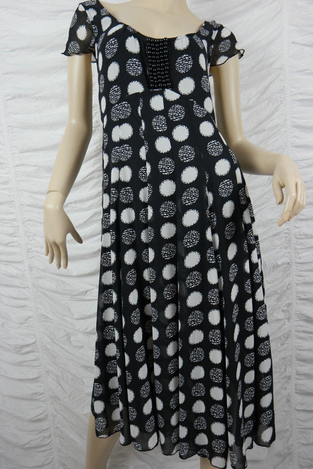 SCARLETT schwarz Weiß polka dot empire waist cap sleeve dress Größe 8 BNWT NZ