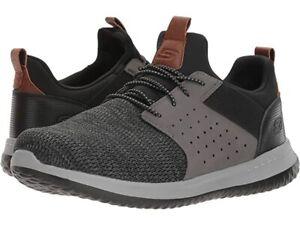 Skechers-Men-039-s-Slip-On-Delson-Camben-Oxford-Shoes-65474BKGY-choose-size