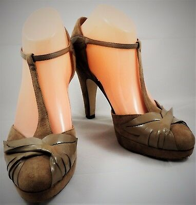 Próxima Tribunal Zapatos De Las Señoras, Gamuza, tiras, tacón alto, Beige, Reino Unido 6-Rápido Gratis P&P