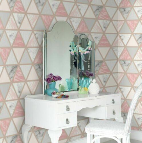Arthouse Pink Grey Marble Metallic Rose Gold Geometric Triangle Wallpaper 692205