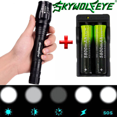 4 Sets 60000LM T6 Tactical LED Zoomable Flashlight Torch Light Battery Charger