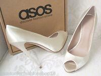 Bnwb Asos Size 2 3 4 4.5 5 5.5 6 6.5 7 Ivory Cream Satin High Heel Bridal Shoes