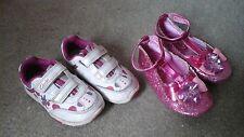 Chicas Clarks Bunny entrenadores con las luces intermitentes tamaño 5 G + Pink Sparkle Zapatos 5