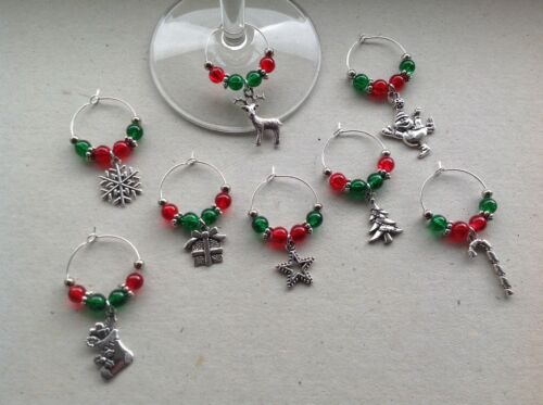 party stocking filler. 8 or 10 Christmas Wine Glass Charms Handmade Set of 6