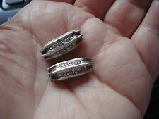 2 Thai Karen Hill Tribe .999 Fine Silver Design Stamped Tube Beads, 19x8mm