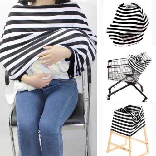 Car Seat Canopy Baby Breastfeeding Cover with Matching Bag NEW Grey Chevron
