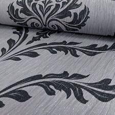 Wallpaper Debona- Luxury Glittered Elegant Crystal Damask - Silver & Black -9032