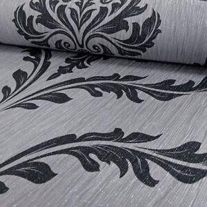 tapete debona luxus mit glitzer eleganter kristall damast silber schwarz ebay. Black Bedroom Furniture Sets. Home Design Ideas