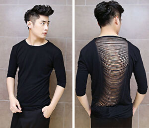 New men 39 s sexy see through tassel back slim fit 3 4 sleeve for Shirts with see through backs