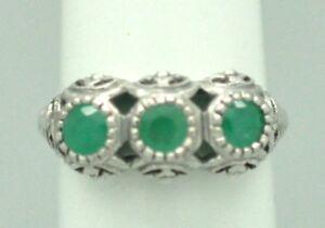 Anello-Smeraldo-Smeraldi-Argento-925-Stile-Antico