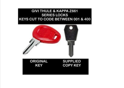 1 x GIVI ou KAPPA Top Box /& VELO touches ou de blanc COUPE à code-Z661 serrures seulement