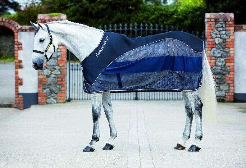 Horseware Rambo muestran que absorbe el aire textrojo sudor neto del refrigerador Alfombra Navy 5' 0  -7' 3