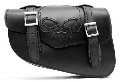 Sacoche Laterale Cuir Tete De Mort Skull (harley Sportster Iron Forty 883 1200 )
