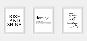 Details About Bedroom Sleeping Rise And Shine Wall Print Set Of 3 Picture Quote Prints