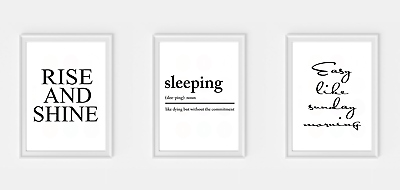Set of 3 Bedroom Sleeping Rise and Shine wall Print Picture Quote prints