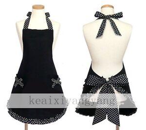 New-Cute-Vintage-Flirty-Ladies-Bowknot-Kitchen-Bib-Apron-Dress-Bow-Pocket-Black