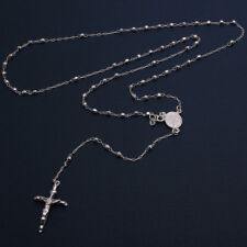 925 Sterling Silver Shiny Diamond Cut Beads Rosary Cross Rosary Necklace